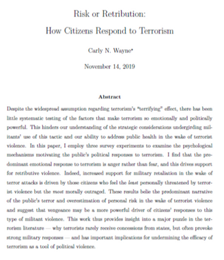 Risk or Retribution: How Citizens Respond to Terror