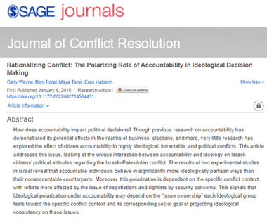Rationalizing Conflict: The Polarizing Role of Accountability in Ideological Decision Making
