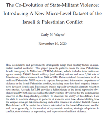 PA'ILIM: Introducing A New Micro-Level Dataset of the Israeli & Palestinian Conflict