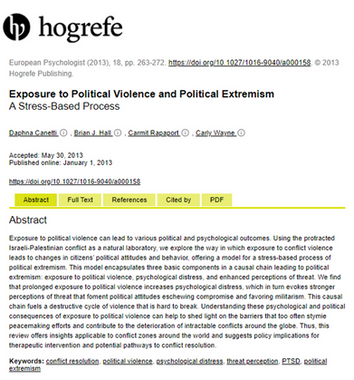 Exposure to Political Violence and Political Extremism