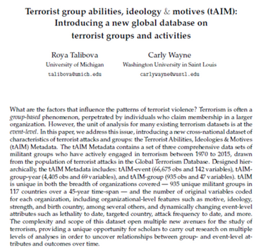 Terrorist group abilities, ideology & motives (tAIM): Introducing a new global database on terrorist groups and activities