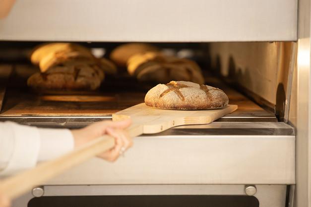 baking-bread-in-the-oven-in-bakery-DZXXP