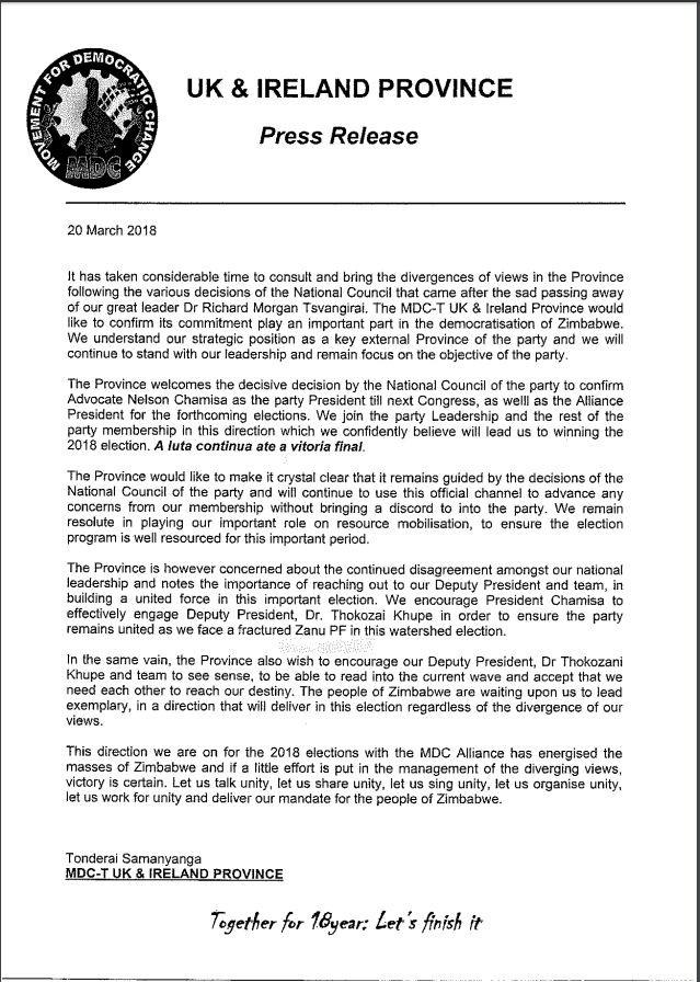 MDC UK Press Release