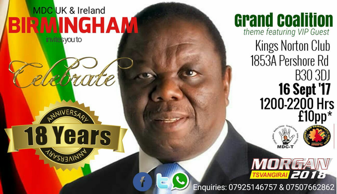 Invitation to MDC UK and Ireland 18th Anniversary Celebrations
