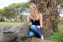 With a Baby Rhino, Lewa Conservancy