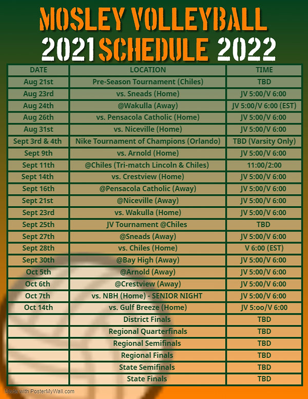 Copy of Mosley Volleyball Schedule 2021