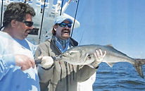Image of Hall of Famer Wade Boggs & Frank Crescitellie with Record Bluefish