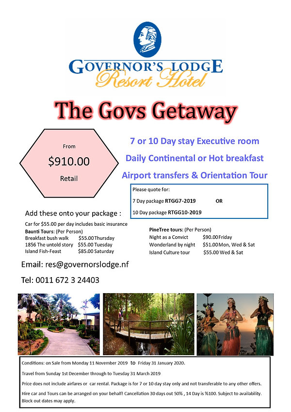 01 Dec 2019 Advert The Govs Getaway PKG