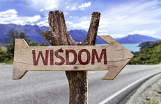 Wisdom wooden sign with a street backgro