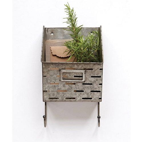 Metal Wall Basket w/ 2 Hooks