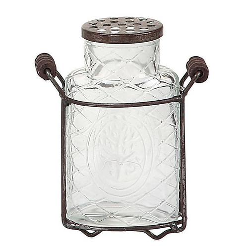 5-34H Glass Vase w Metal Frog Lid