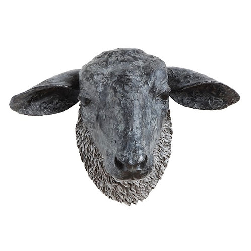 Resin Sheep Head Wall Decor, Black