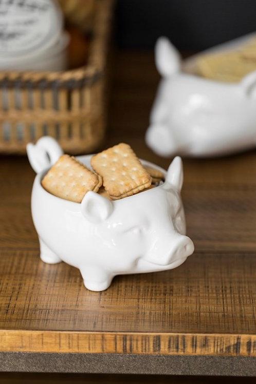Ceramic Pig Bowl, White
