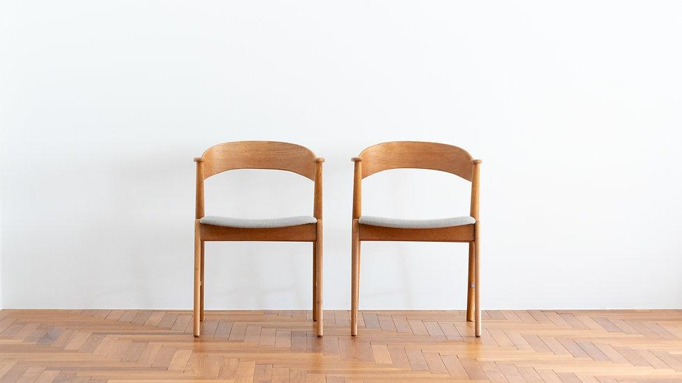 """Kai Kristiansen  model.32 """"Nail Chair"""" Oak 2set"""