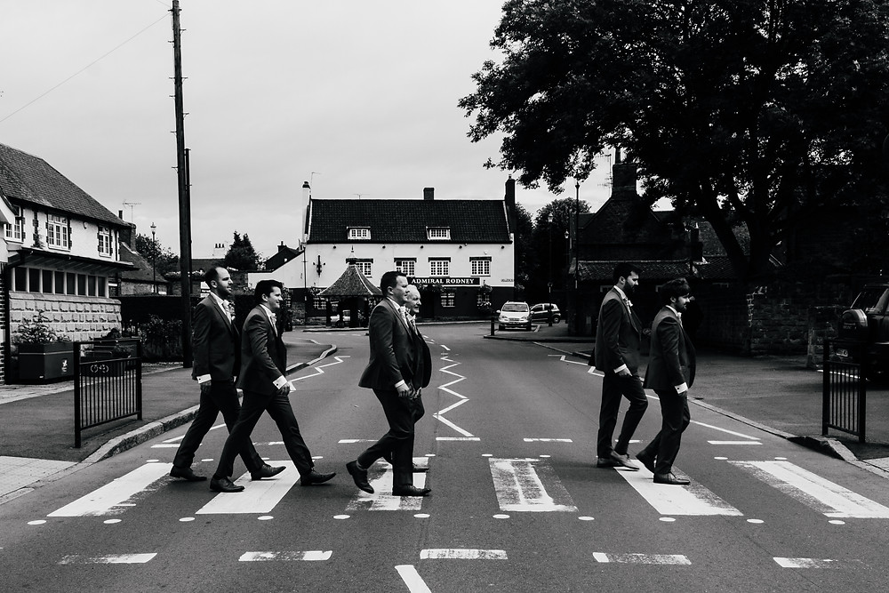 wedding, group shots, quirky group shot, fun group shot, groom, bridal party, groomsmen, Beatles, abbey road, Nottingham wedding