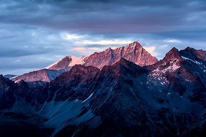 Alpenglow, glowing peaks Swititzerland