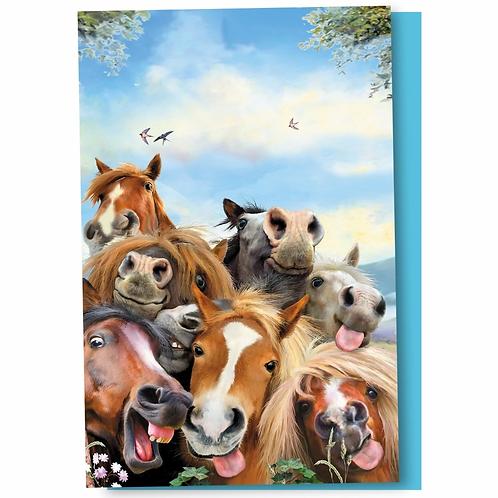Ensemble de 12 cartes Selfie de chevaux