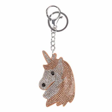 Porte-clef tête de licorne à paillette