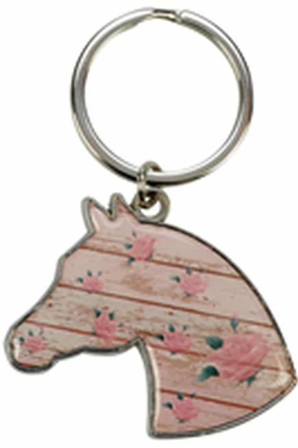 Porte-clef tête de cheval fleurit