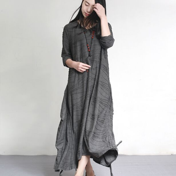 Free-shipping-autumn-and-winter-new-women-s-cotton-and-polyester-blended-long-sleeved-long-loose