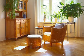 Sunny living room in warm colors with co