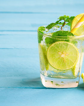 Lemonade or lime mojito and mint leaf in