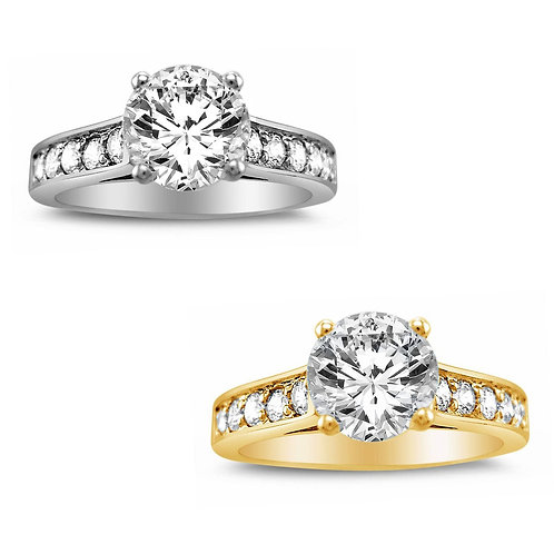 14k Yellow or White Gold 1 1/4ct TGW Round-cut Diamonette Engagement Ring