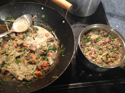 Thai green curry and salad