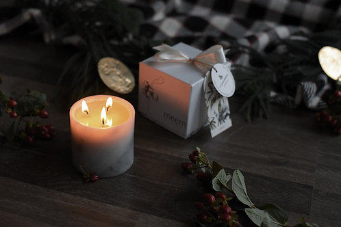 White Classic 3 Wick Marble Jar