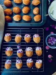 White chocolate & button amaranth madeleines