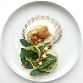 Scallops with cauliflower puree, apple & hazelnut dressing