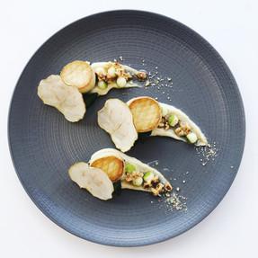 King oyster mushroom 'scallops' with salt baked celeriac puree, apple & hazelnut dressing, apple crisps