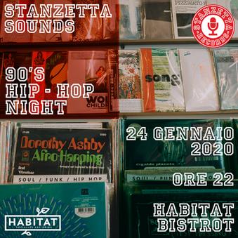 """Stanzetta Sounds """"90's Hip-Hop Night - Flyer"""