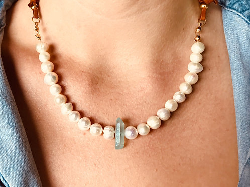 Freshwater Pearls, Blue Crystal & Leather Necklace.