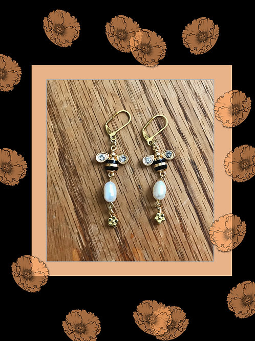 Bumble Bee Earrings with Freshwater Pearls and Small Gold Flower