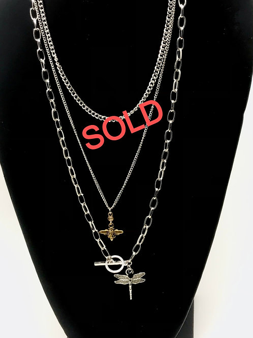 Dragonfly & Honeybee triple chain necklaces