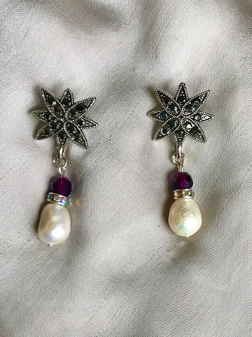 Earrings-Marcasite, Dark Bordeaux Crystal, Freshwater Pearls
