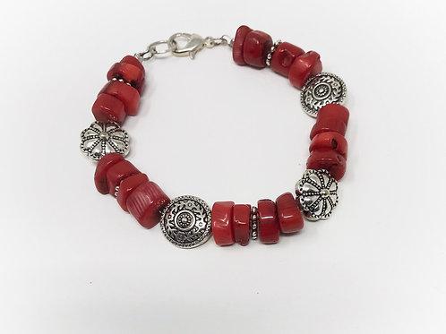 Bracelet-Coral & Silverplate Decorative beads