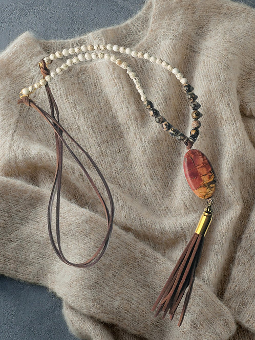 Long necklace with Leopard agate, howlite, faux leather, Painted Jasper Pendant