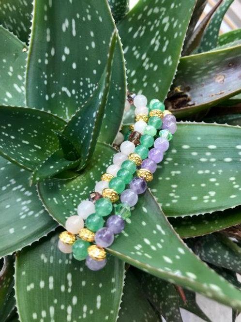 Triple Stack of Semi-Precious Gem Bracelets