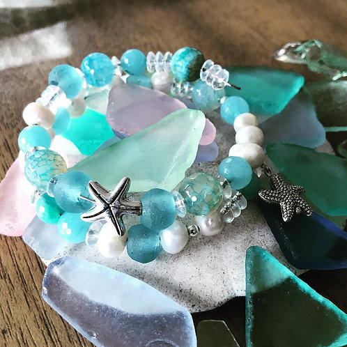 Star Fish & Sea Glass Bracelet