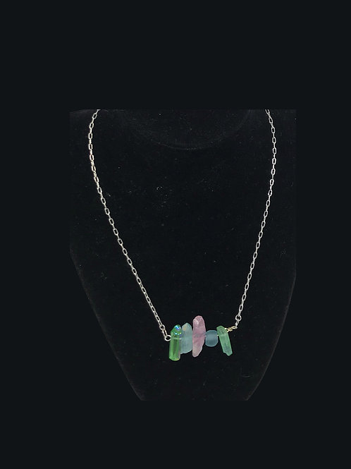 rose pink and green quartz with blue matte glass bead, silver chain.jpg