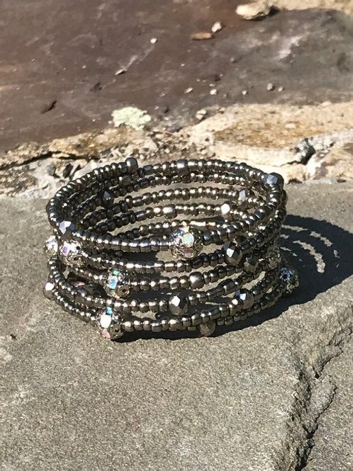 Gunmetal Silver Toho Beads with Pave Crystal Wrap Bracelet