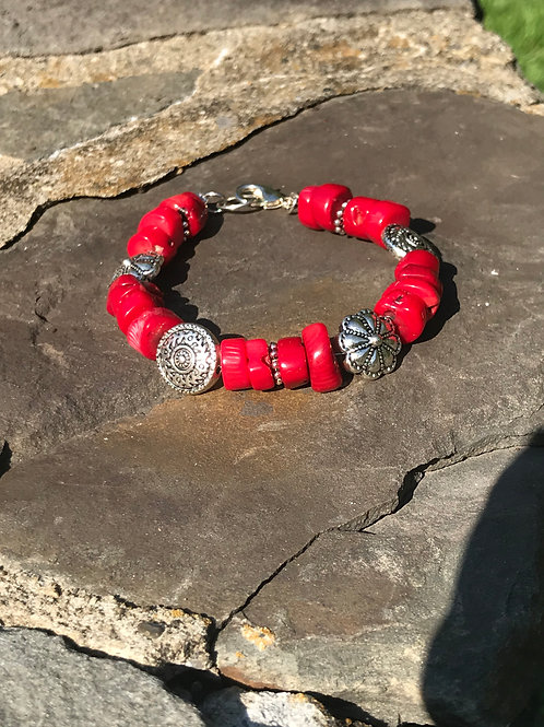 Coral and Ethnic Pattern Silver Plate Bead Bracelet