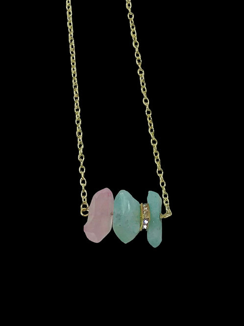 Trio of Rose Pink & Green Lustre Quartz on Gold Chain with Pave Square Rondelle