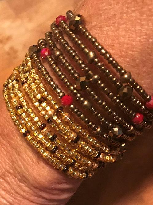 Set of Golden Beaded & Bronze Beaded Wrap Bracelets