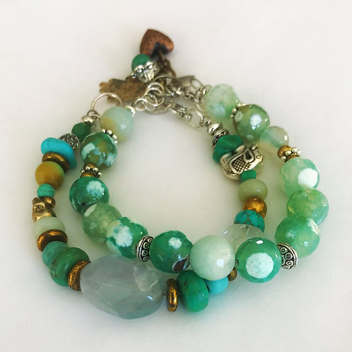 Bracelet  duo with Quartz, Green  Agate, African Turquoise