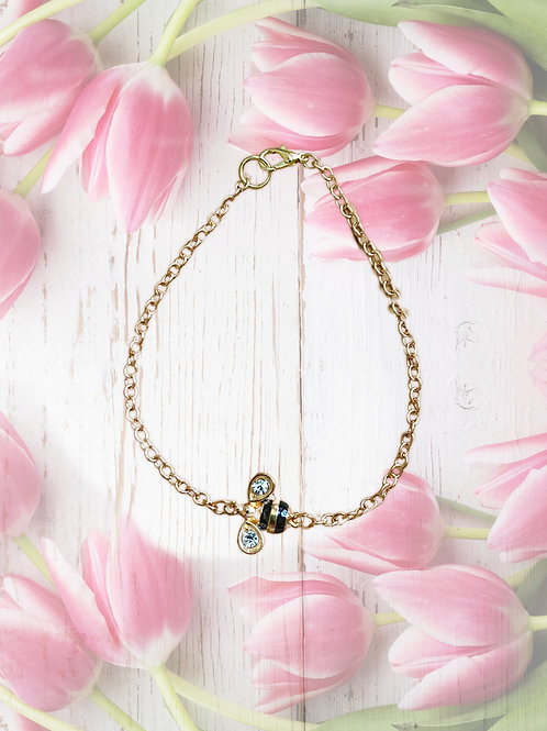 Ankle bracelet, gold tone chain, BumbleBee charm