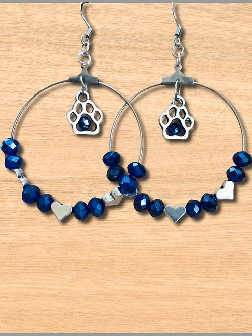 Earrings with Paws, Blue Crystals, Silver Hearts
