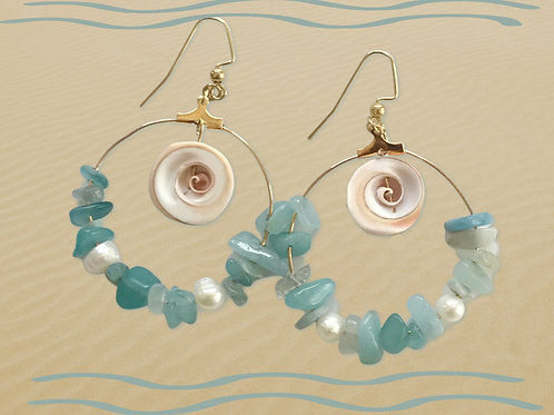 Beach Dreams...earrings with aquamarine chips, seashells, freshwater pearls